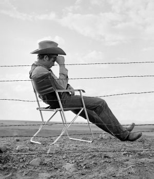 James Dean Seated Behind Fence, Giant 1955 by