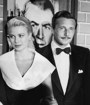 Alfred Hitchcock, Grace Kelly & Oleg Cassini   by