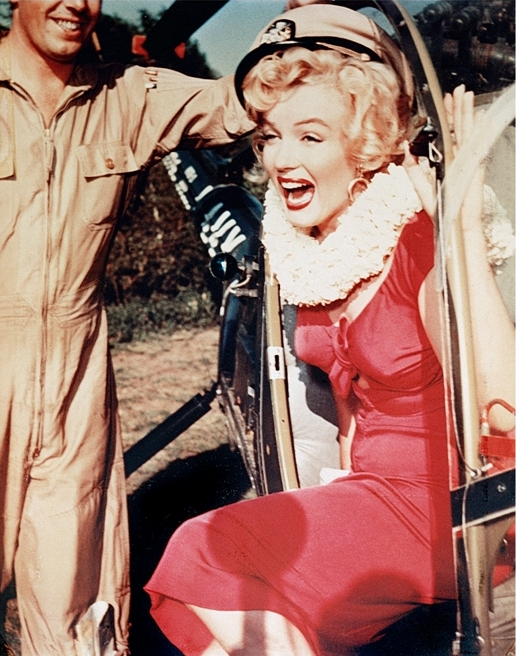 Marilyn Monroe Exiting Helicopter, Korean War by Frank Worth