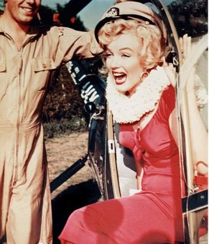 Marilyn Monroe Exiting Helicopter, Korean War by