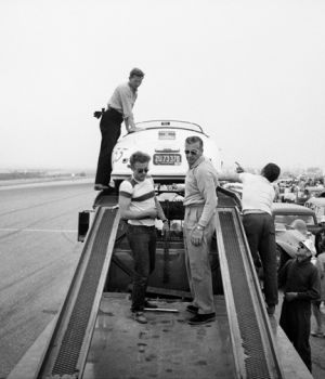 James Dean Standing on Trailer   by