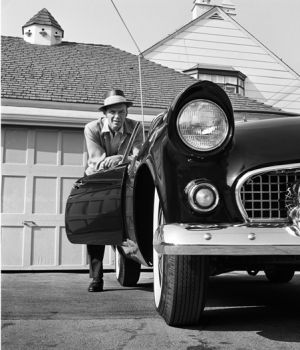 Frank Sinatra Leaning on T-bird, 1955 by