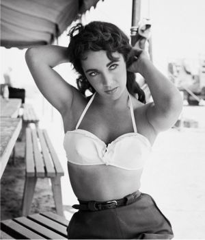 Elizabeth Taylor on set of Giant, 1955 by