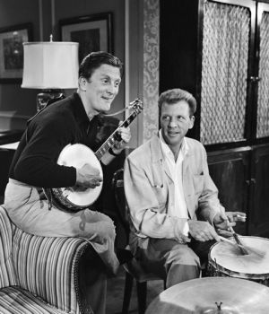 Kirk Douglas Plays Banjo with Dan Dailey on Drums by