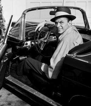 Frank Sinatra Sitting in his T-Bird by