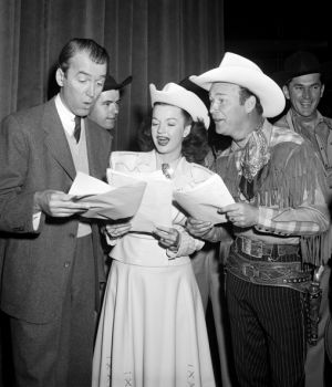 James Stewart, Dale Evans and Roy Rogers join in song by Frank Worth