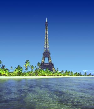 Eiffel Tower on Island