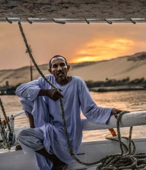 Captain and his Felucca, Egypt by